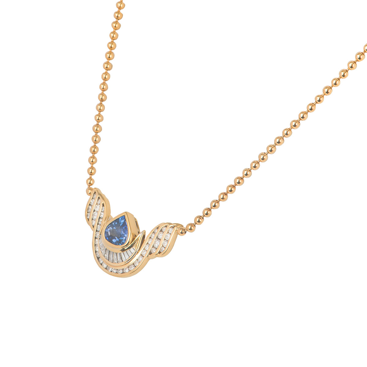 Yellow Gold Diamond and Blue Topaz Necklace
